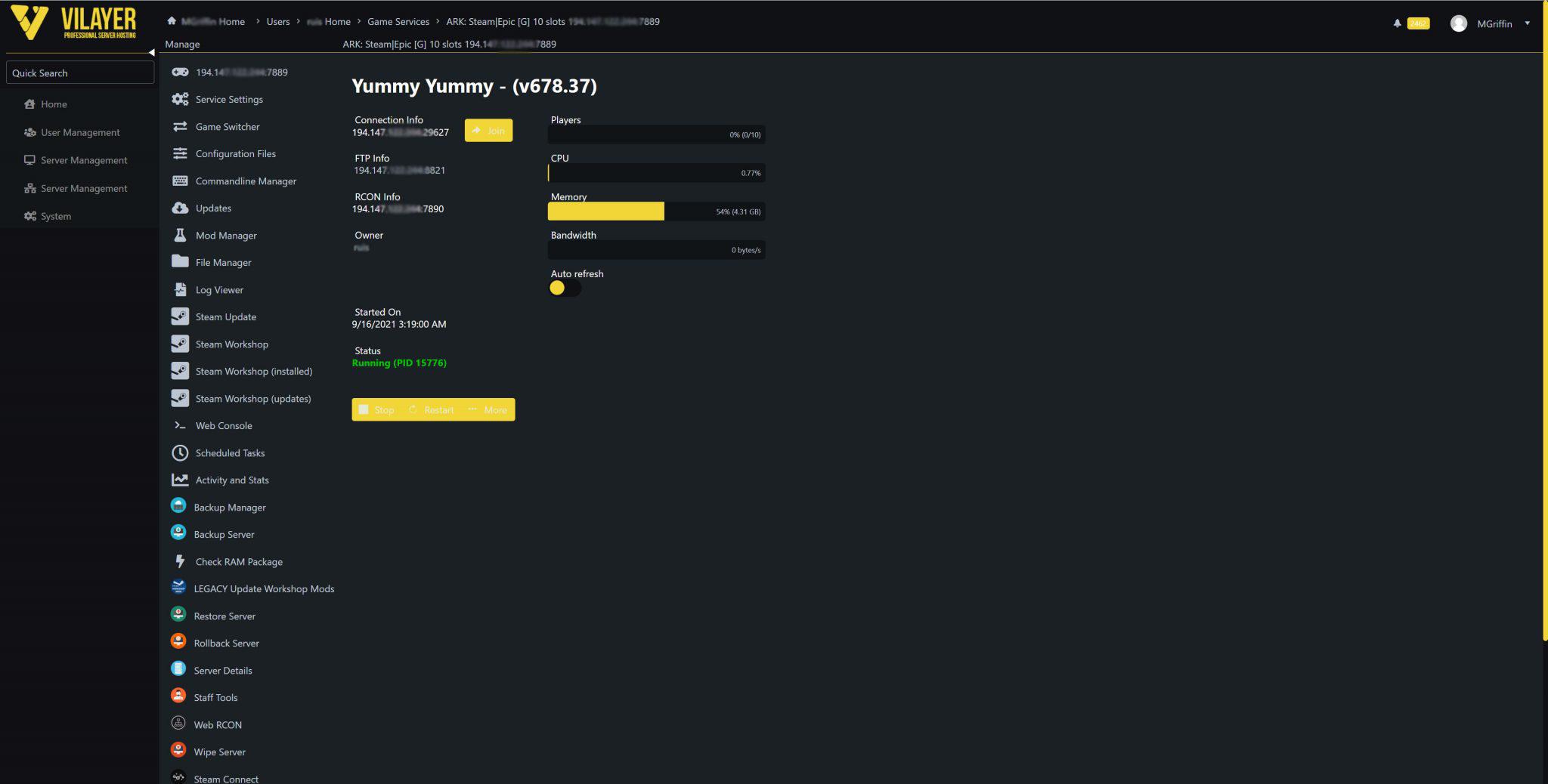 vilayer control panel screenshot
